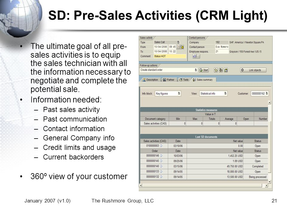 January 2007 (v1.0)The Rushmore Group, LLC21 SD: Pre-Sales Activities (CRM Light) The ultimate goal of all pre- sales activities is to equip the sales technician with all the information necessary to negotiate and complete the potential sale.