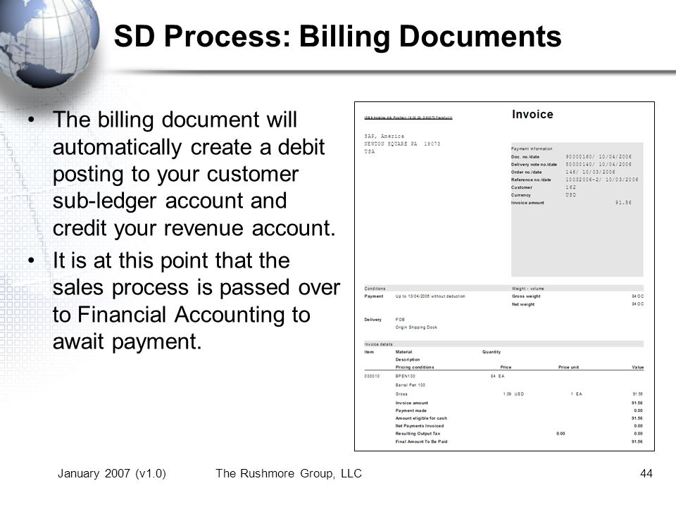 January 2007 (v1.0)The Rushmore Group, LLC44 SD Process: Billing Documents The billing document will automatically create a debit posting to your customer sub-ledger account and credit your revenue account.