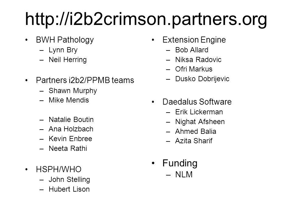 http://i2b2crimson.partners.org BWH Pathology –Lynn Bry –Neil Herring Partners i2b2/PPMB teams –Shawn Murphy –Mike Mendis –Natalie Boutin –Ana Holzbach –Kevin Enbree –Neeta Rathi HSPH/WHO –John Stelling –Hubert Lison Extension Engine –Bob Allard –Niksa Radovic –Ofri Markus –Dusko Dobrijevic Daedalus Software –Erik Lickerman –Nighat Afsheen –Ahmed Balia –Azita Sharif Funding –NLM