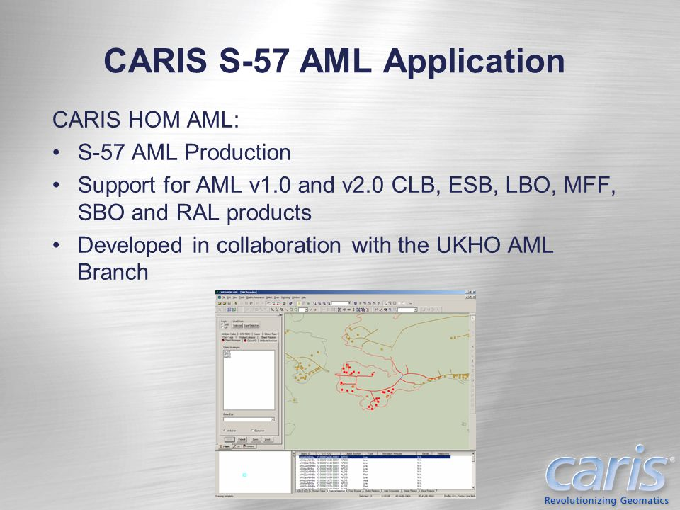 CARIS VPF AML Application CARIS DOM AML: VPF AML Production Officially supports NGA TOD0 and NATO CLB products; provisional support for ESB, LBO, MFF, SBO, and RAL products