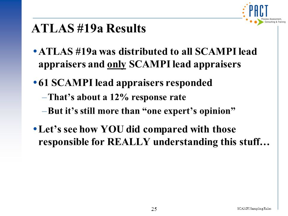 SCAMPI Sampling Rules 25 ATLAS #19a Results  ATLAS #19a was distributed to all SCAMPI lead appraisers and only SCAMPI lead appraisers  61 SCAMPI lea