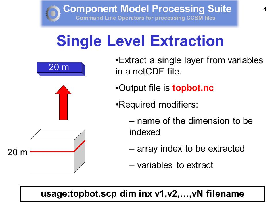 4 Extract a single layer from variables in a netCDF file. Output file is topbot.nc Required modifiers: – name of the dimension to be indexed – array i