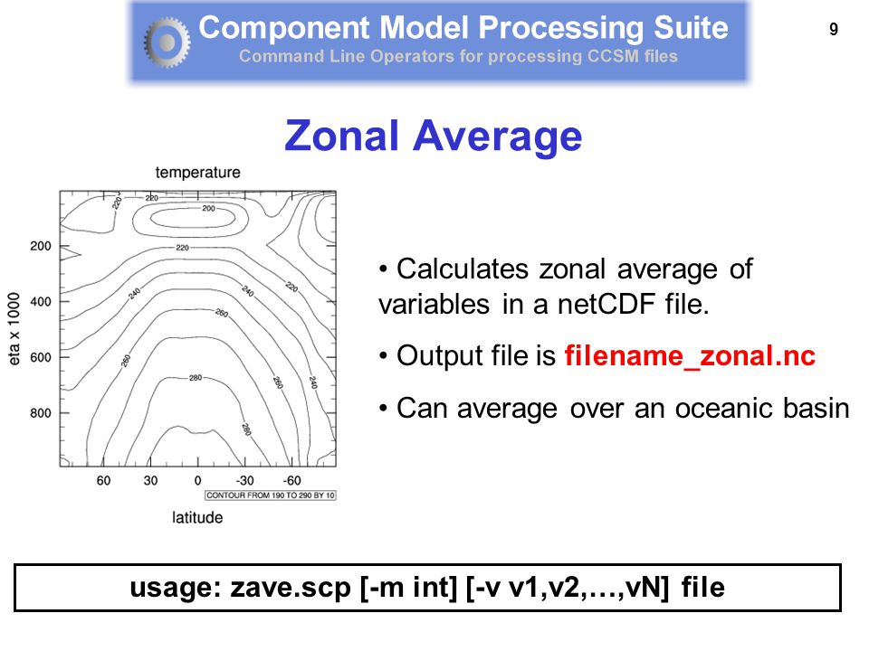 9 Calculates zonal average of variables in a netCDF file. Output file is filename_zonal.nc Can average over an oceanic basin usage: zave.scp [-m int]