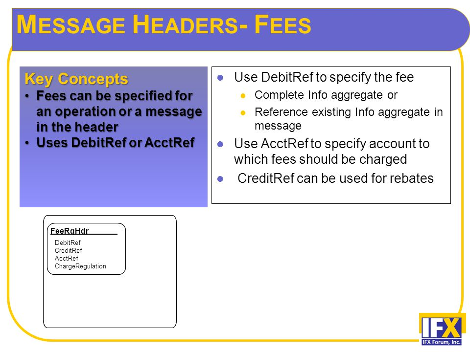 M ESSAGE H EADERS - F EES Use DebitRef to specify the fee Complete Info aggregate or Reference existing Info aggregate in message Use AcctRef to specify account to which fees should be charged CreditRef can be used for rebates Key Concepts Fees can be specified for an operation or a message in the headerFees can be specified for an operation or a message in the header Uses DebitRef or AcctRefUses DebitRef or AcctRef FeeRqHdr DebitRef CreditRef AcctRef ChargeRegulation