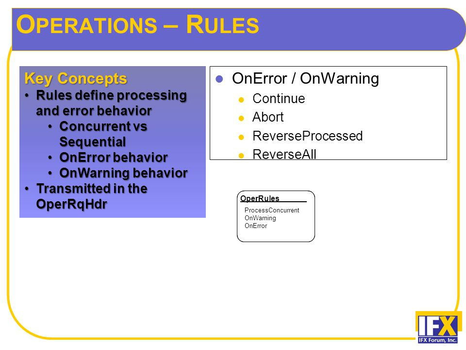 O PERATIONS – R ULES OnError / OnWarning Continue Abort ReverseProcessed ReverseAll Key Concepts Rules define processing and error behaviorRules defin