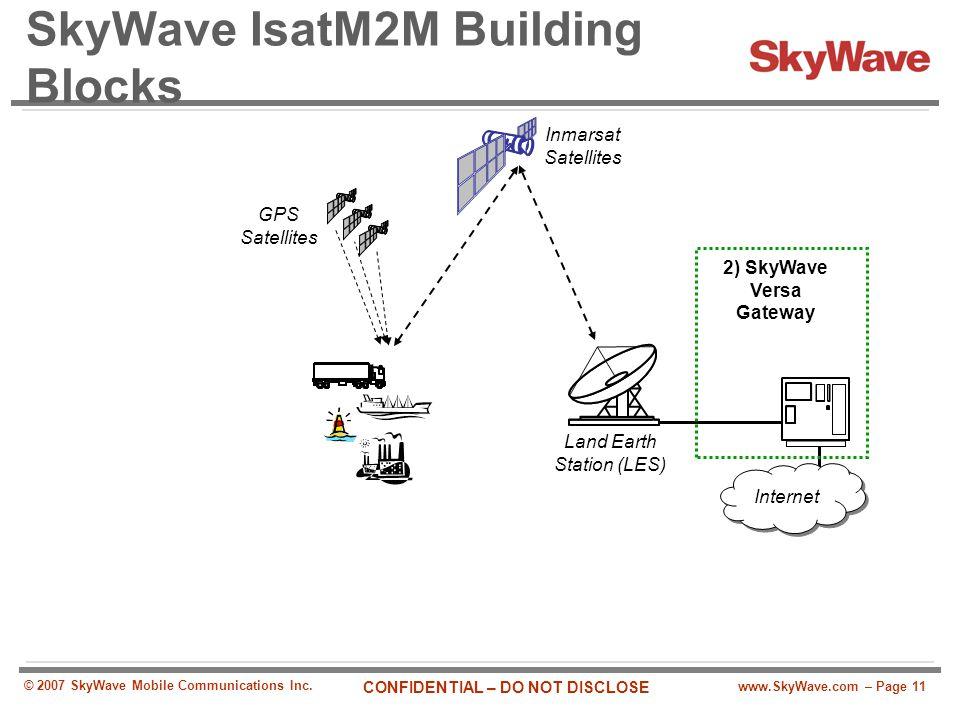 www.SkyWave.com – Page 11 CONFIDENTIAL – DO NOT DISCLOSE © 2007 SkyWave Mobile Communications Inc. SkyWave IsatM2M Building Blocks Land Earth Station