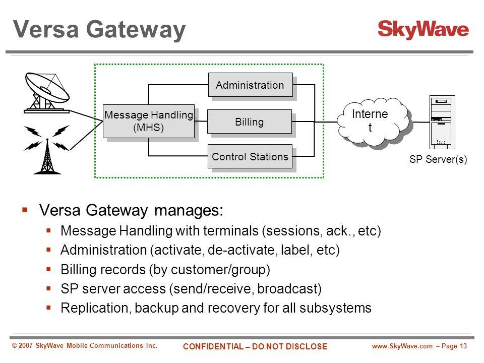 www.SkyWave.com – Page 13 CONFIDENTIAL – DO NOT DISCLOSE © 2007 SkyWave Mobile Communications Inc. Versa Gateway  Versa Gateway manages:  Message Ha