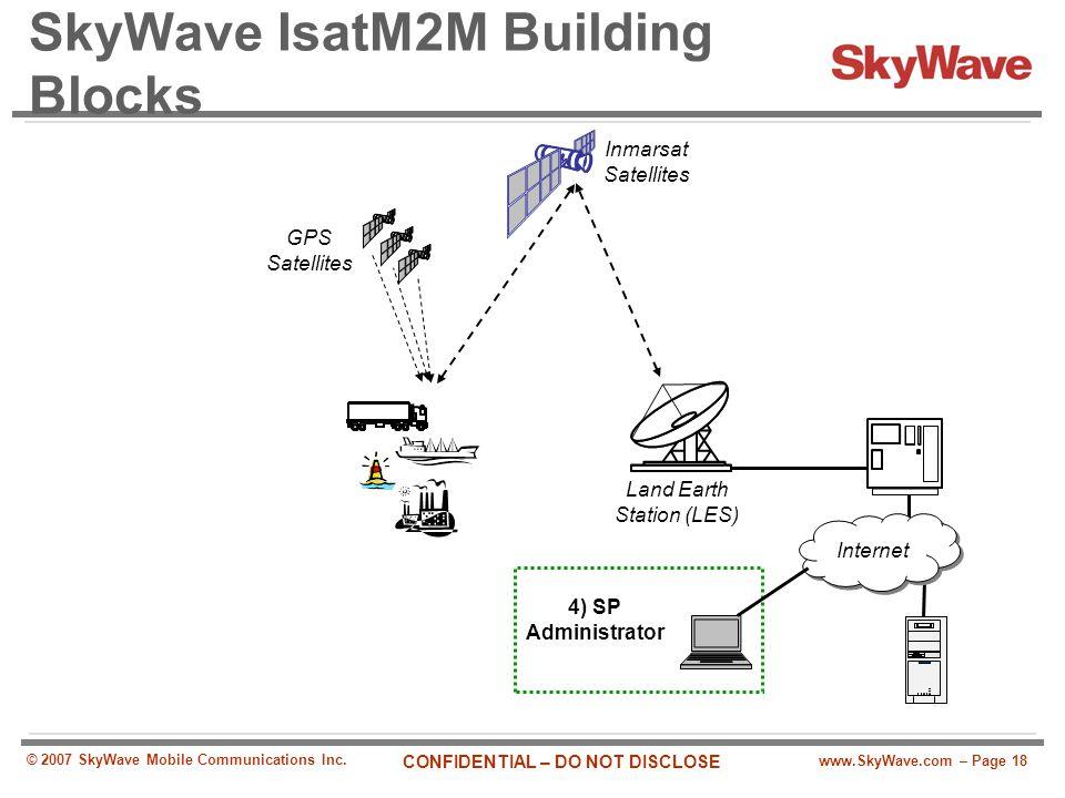 www.SkyWave.com – Page 18 CONFIDENTIAL – DO NOT DISCLOSE © 2007 SkyWave Mobile Communications Inc. SkyWave IsatM2M Building Blocks Land Earth Station