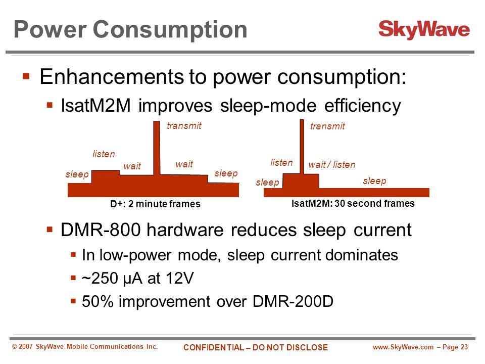 www.SkyWave.com – Page 23 CONFIDENTIAL – DO NOT DISCLOSE © 2007 SkyWave Mobile Communications Inc. Power Consumption  Enhancements to power consumpti