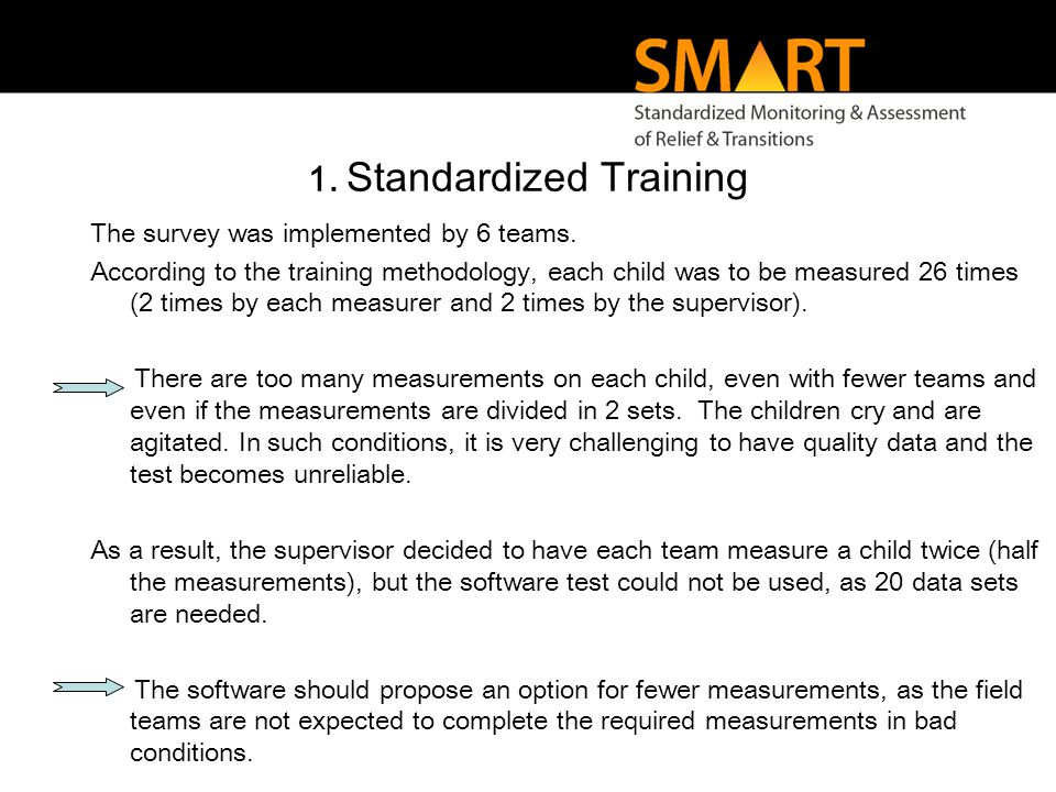 1. Standardized Training The survey was implemented by 6 teams.