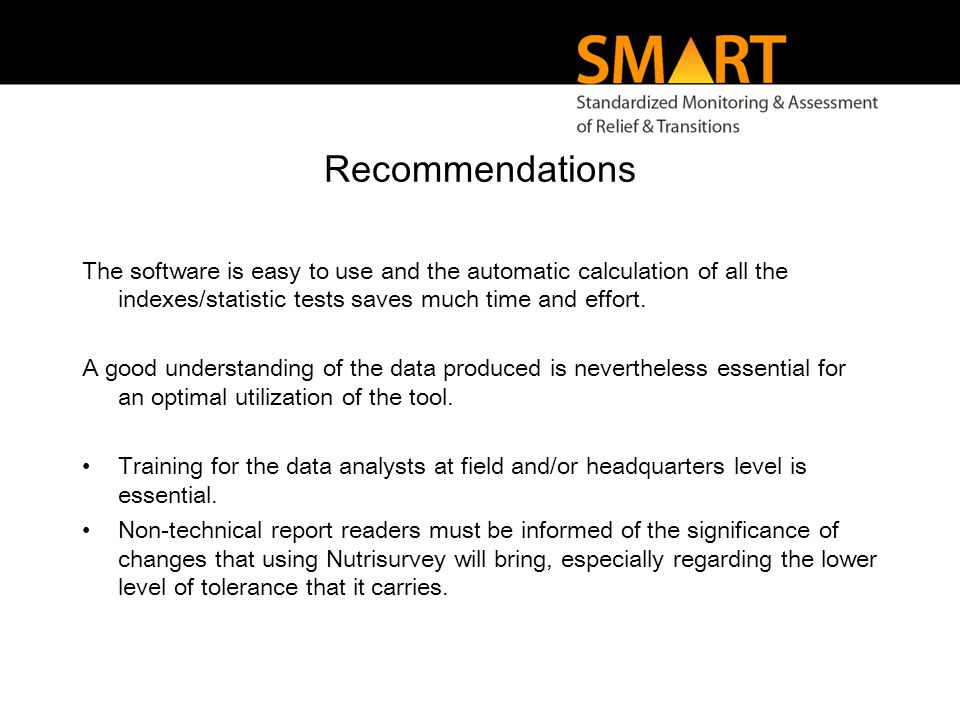 Recommendations The software is easy to use and the automatic calculation of all the indexes/statistic tests saves much time and effort.