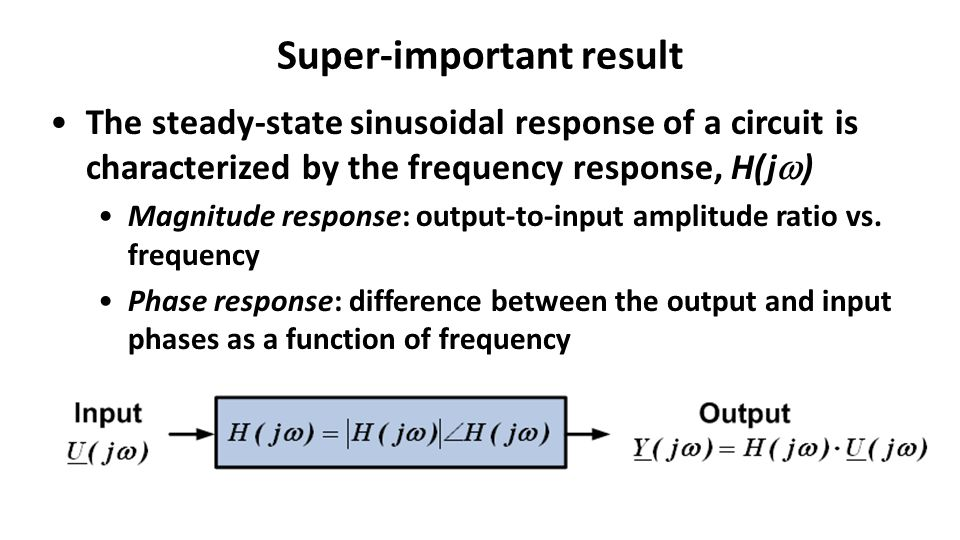 Super-important result The steady-state sinusoidal response of a circuit is characterized by the frequency response, H(j  ) Magnitude response: output-to-input amplitude ratio vs.