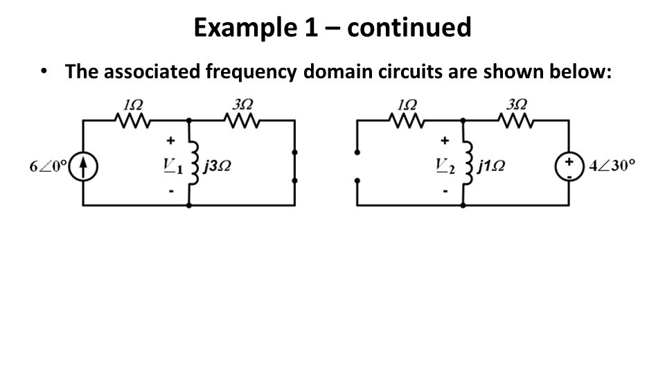 Example 1 – continued The associated frequency domain circuits are shown below: