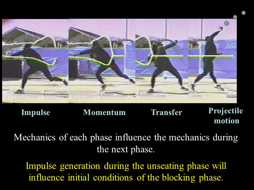 Mechanics of each phase influence the mechanics during the next phase. Impulse generation during the unseating phase will influence initial conditions