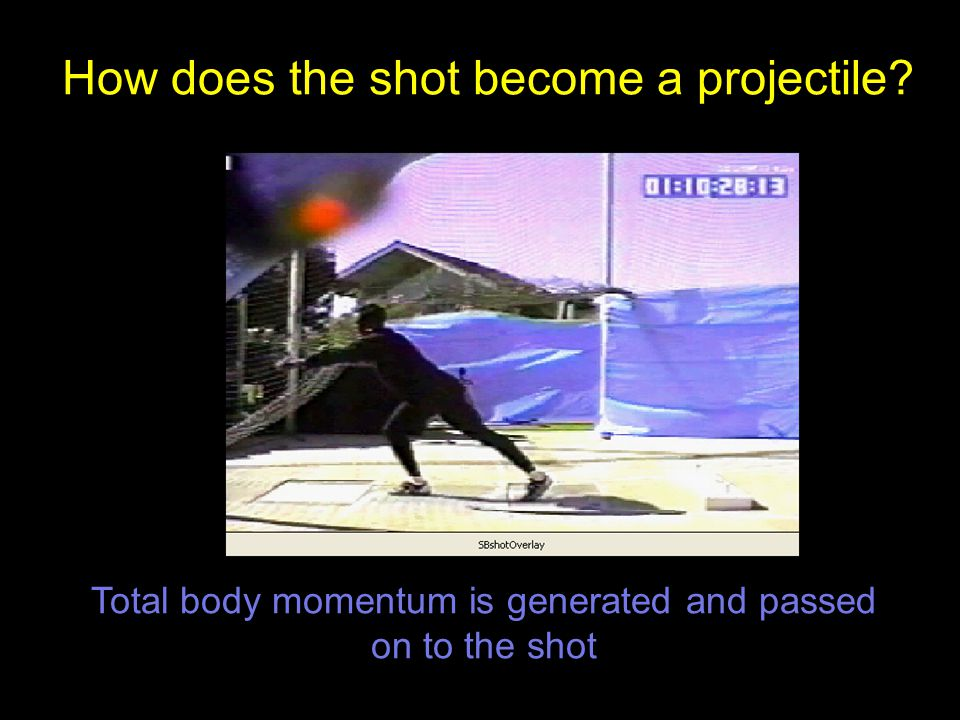 How does the shot become a projectile Total body momentum is generated and passed on to the shot