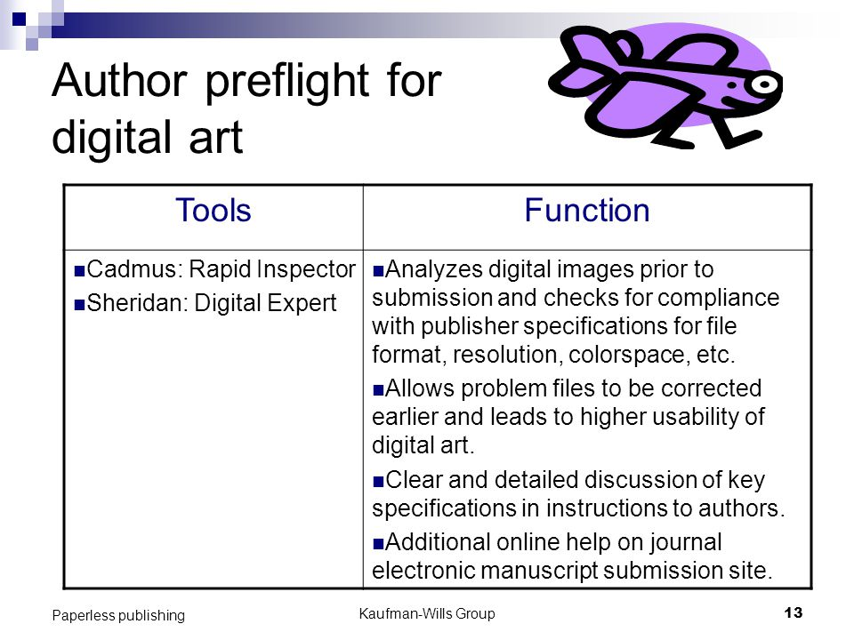 Kaufman-Wills Group13 Paperless publishing Author preflight for digital art ToolsFunction Cadmus: Rapid Inspector Sheridan: Digital Expert Analyzes digital images prior to submission and checks for compliance with publisher specifications for file format, resolution, colorspace, etc.