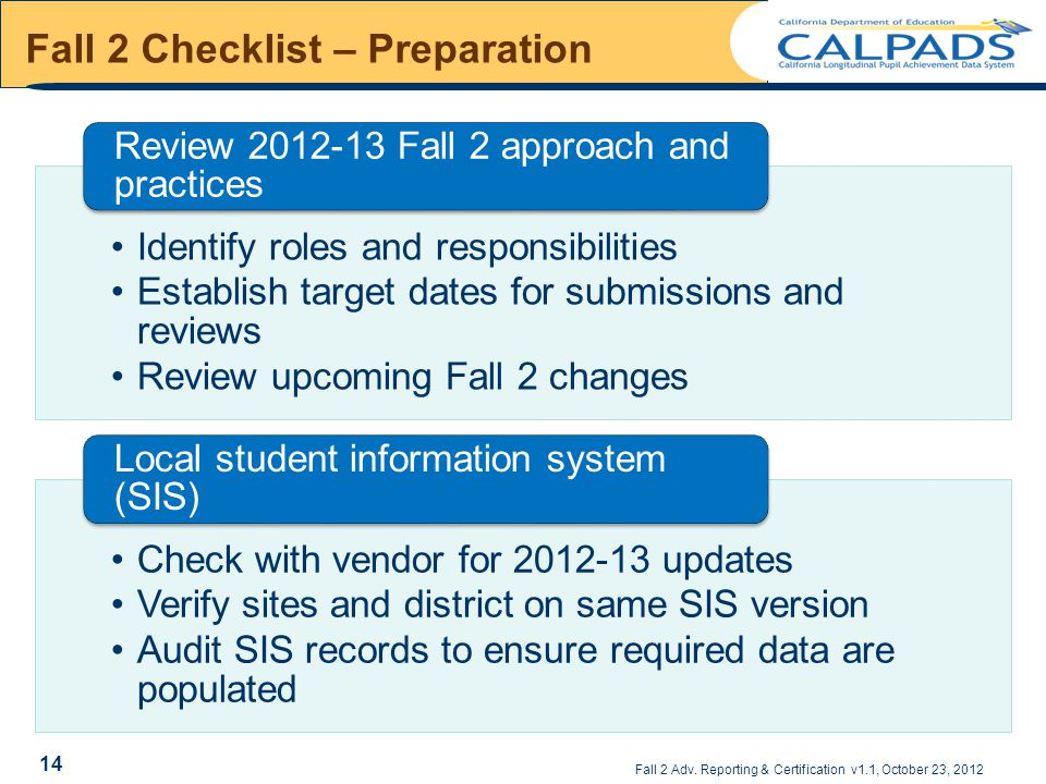 Fall 2 Adv. Reporting & Certification v1.1, October 23, 2012 Fall 2 Checklist – Preparation Identify roles and responsibilities Establish target dates