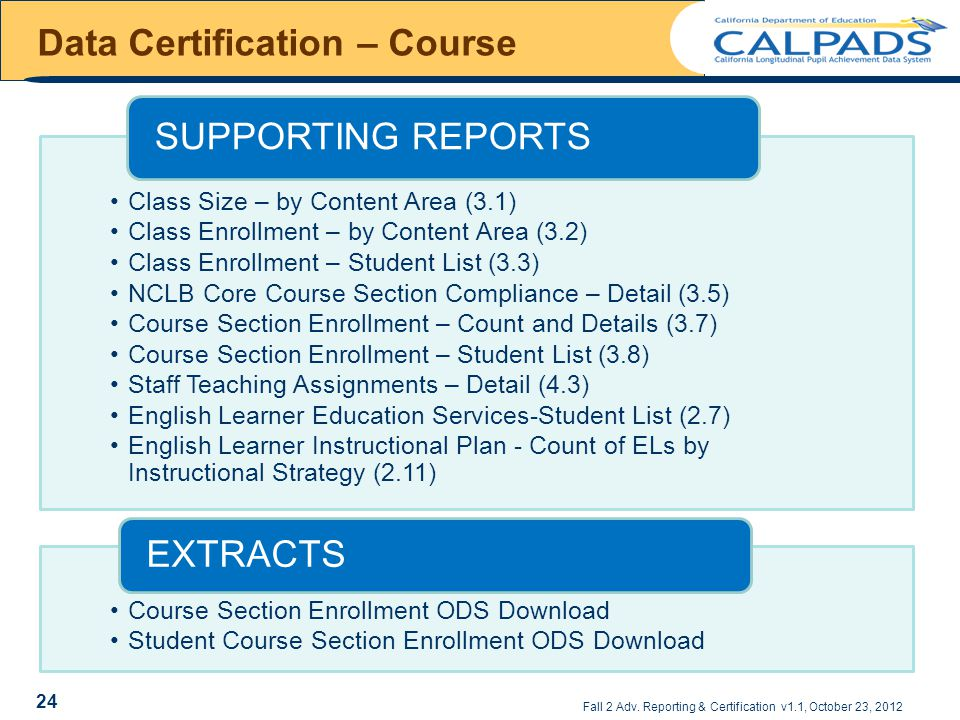 Fall 2 Adv. Reporting & Certification v1.1, October 23, 2012 Data Certification – Course 24 Class Size – by Content Area (3.1) Class Enrollment – by C