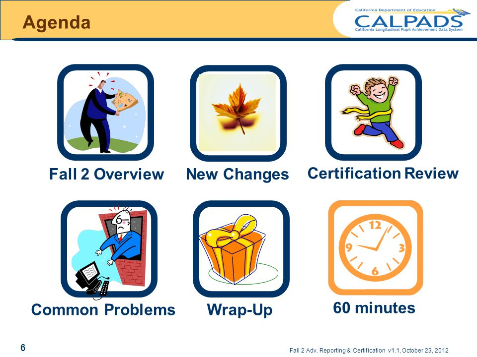 Agenda 60 minutes Common ProblemsNew Changes Fall 2 Overview Certification ReviewWrap-Up Fall 2 Adv.
