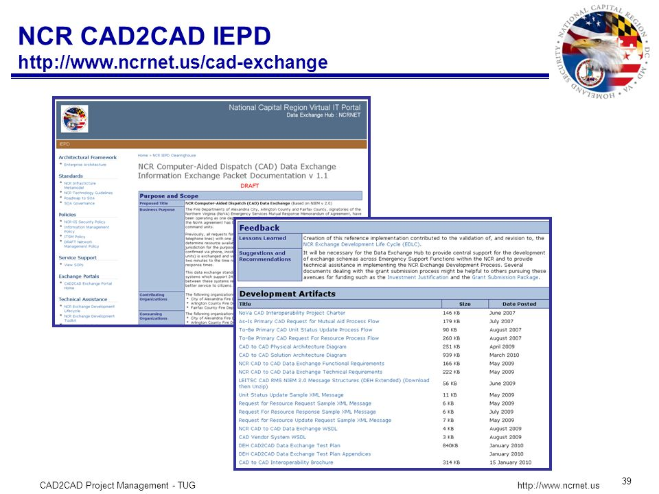 CAD2CAD Project Management - TUG 39   NCR CAD2CAD IEPD