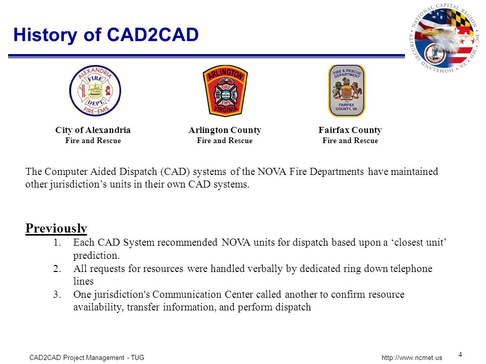 CAD2CAD Project Management - TUG 25 http://www.ncrnet.us Safecom Interoperability Continuum