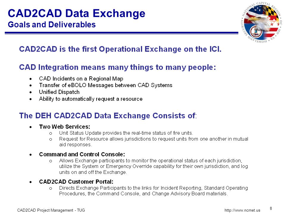 CAD2CAD Project Management - TUG 8 http://www.ncrnet.us CAD2CAD Data Exchange Goals and Deliverables