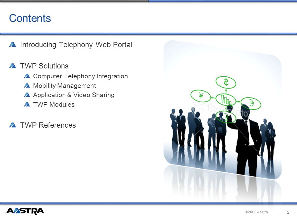 ©2008 Aastra Contents Introducing Telephony Web Portal TWP Solutions Computer Telephony Integration Mobility Management Application & Video Sharing TWP Modules TWP References 2