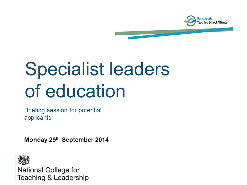 Background The white paper (2010) As we create the national network of teaching schools, we will also designate 'specialist leaders of education' – excellent professionals in leadership positions below the head teacher (such as deputies, bursars, heads of department) who will support others in similar positions in other schools.