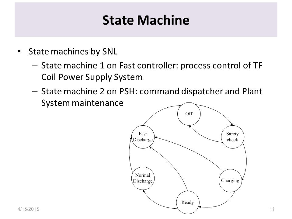 State Machine State machines by SNL – State machine 1 on Fast controller: process control of TF Coil Power Supply System – State machine 2 on PSH: command dispatcher and Plant System maintenance 4/15/201511
