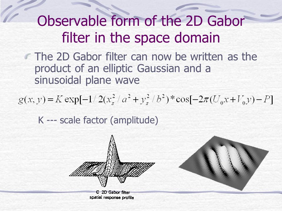 Observable form of the 2D Gabor filter in the space domain The 2D Gabor filter can now be written as the product of an elliptic Gaussian and a sinusoidal plane wave K --- scale factor (amplitude)