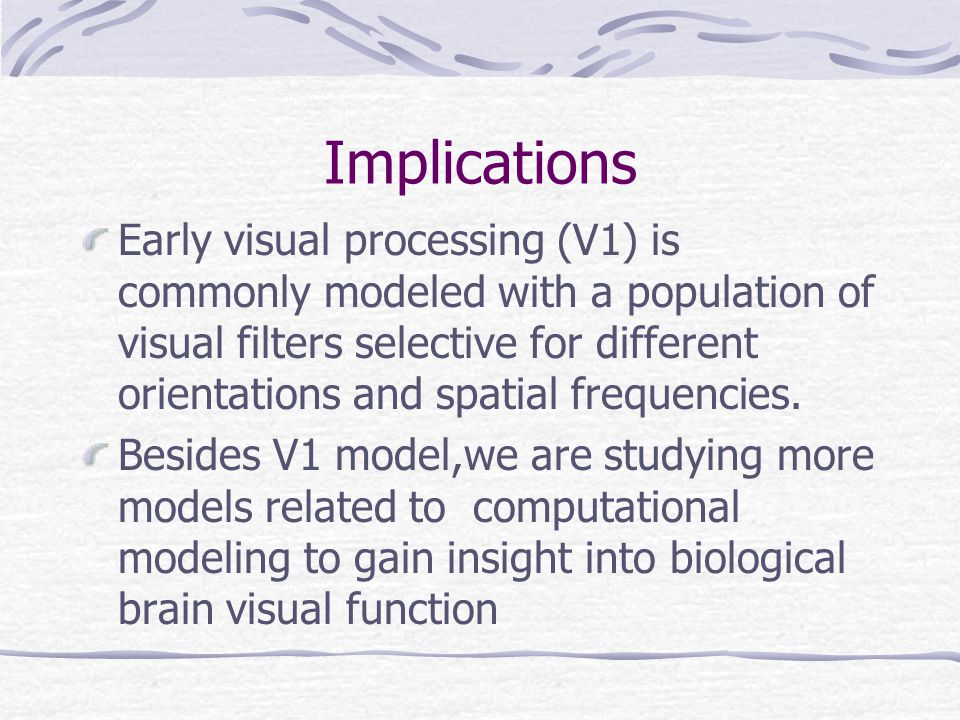 Implications Early visual processing (V1) is commonly modeled with a population of visual filters selective for different orientations and spatial frequencies.
