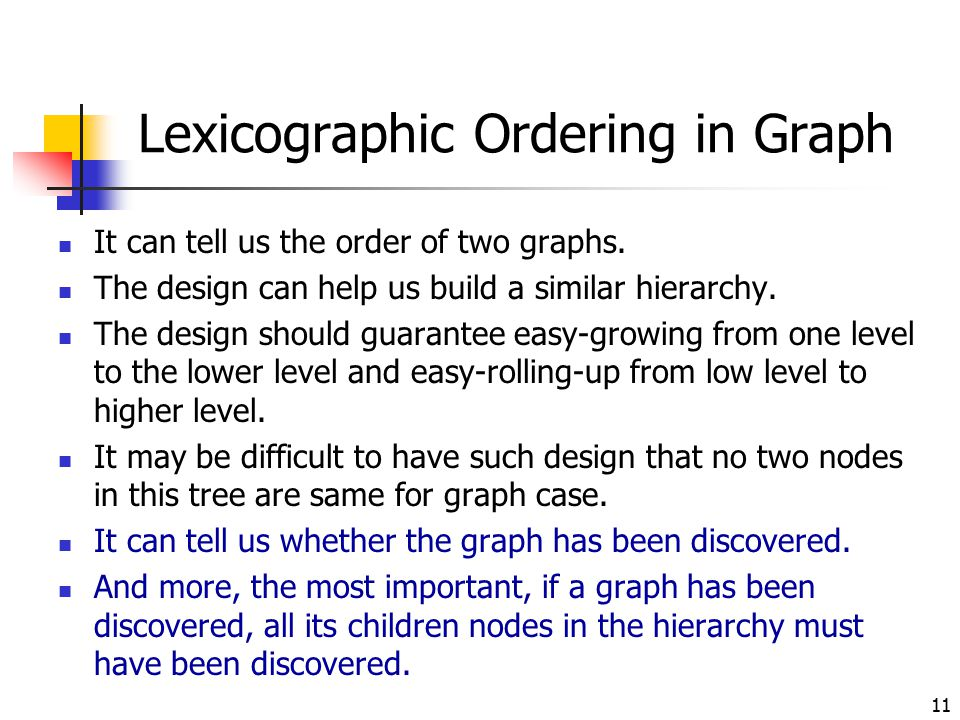 11 Lexicographic Ordering in Graph It can tell us the order of two graphs. The design can help us build a similar hierarchy. The design should guarant