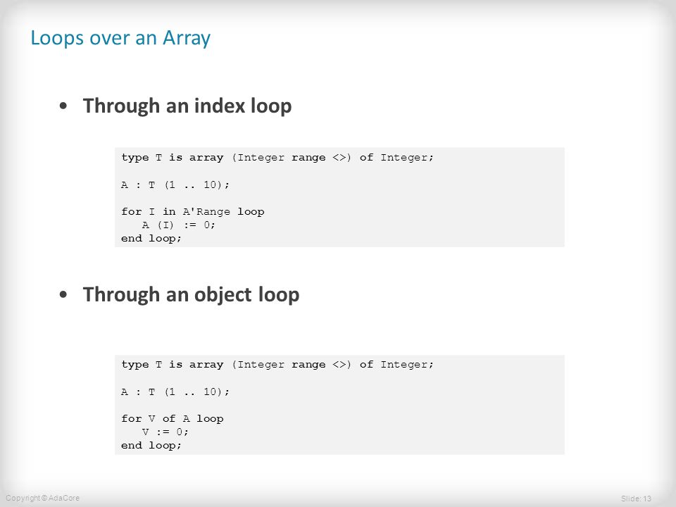 Slide: 13 Copyright © AdaCore Loops over an Array Through an index loop Through an object loop type T is array (Integer range <>) of Integer; A : T (1