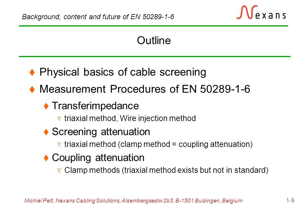 Michiel Pelt, Nexans Cabling Solutions, Alsembergsestw 2b3, B-1501 Buizingen, Belgium Background, content and future of EN 50289-1-6 1- 7 Equivalent circuit for general coupling transfer function Z 2,  r2, v 12,  2 Z 1,  r1, v 1,  1