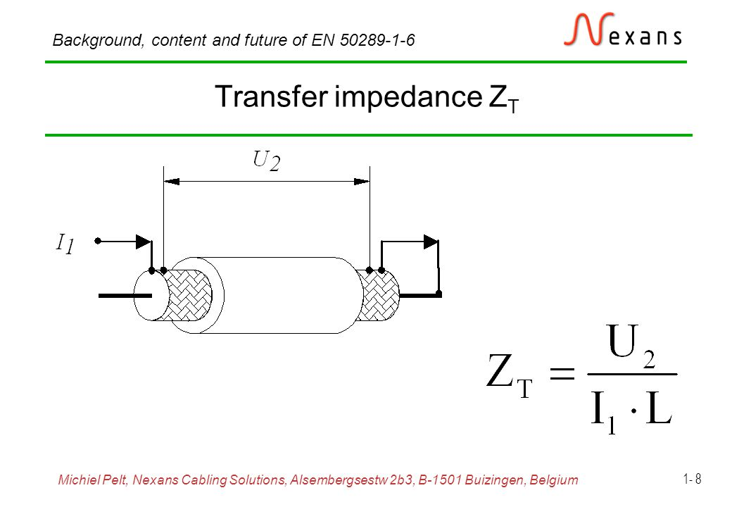 Michiel Pelt, Nexans Cabling Solutions, Alsembergsestw 2b3, B-1501 Buizingen, Belgium Background, content and future of EN 50289-1-6 1- 19 Screening attenuation, triaxial set-up Frequency range: 30 MHz to 4 GHz