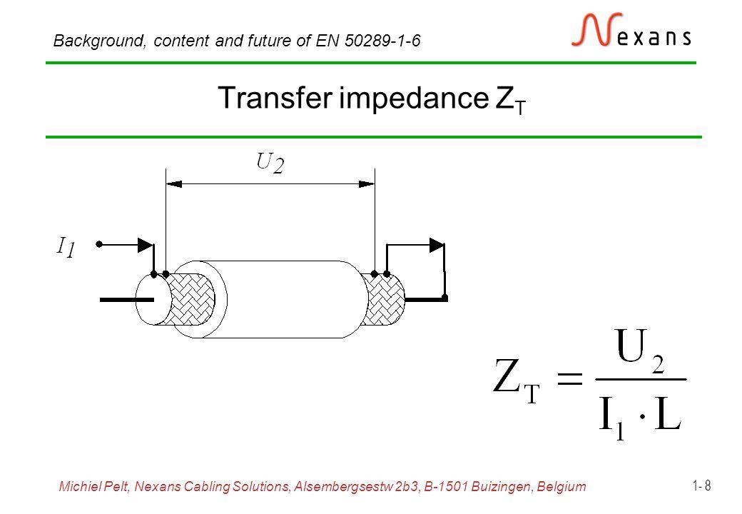 Michiel Pelt, Nexans Cabling Solutions, Alsembergsestw 2b3, B-1501 Buizingen, Belgium Background, content and future of EN 50289-1-6 1- 9 Capacitive coupling impedance Z F