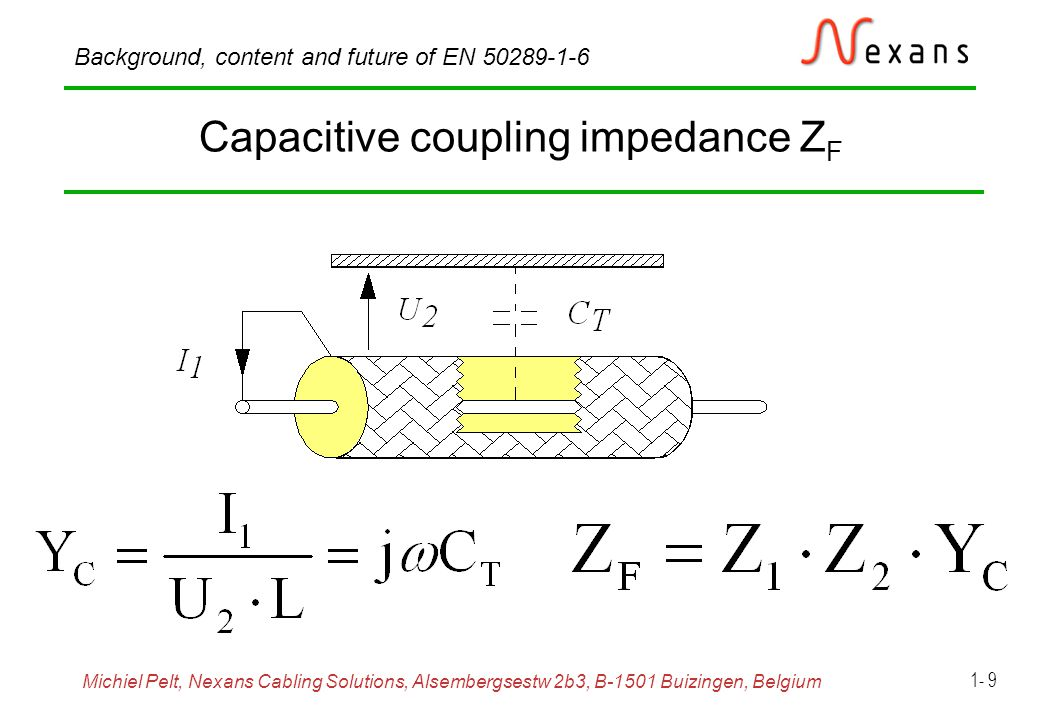 Michiel Pelt, Nexans Cabling Solutions, Alsembergsestw 2b3, B-1501 Buizingen, Belgium Background, content and future of EN 50289-1-6 1- 20 Coupling attenuation, absorbing clamp set-up, (near end) Frequency range: 30 MHz to 1 GHz
