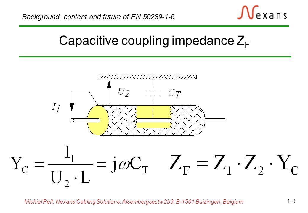 Michiel Pelt, Nexans Cabling Solutions, Alsembergsestw 2b3, B-1501 Buizingen, Belgium Background, content and future of EN 50289-1-6 1- 10 Effective transfert impedance Z F