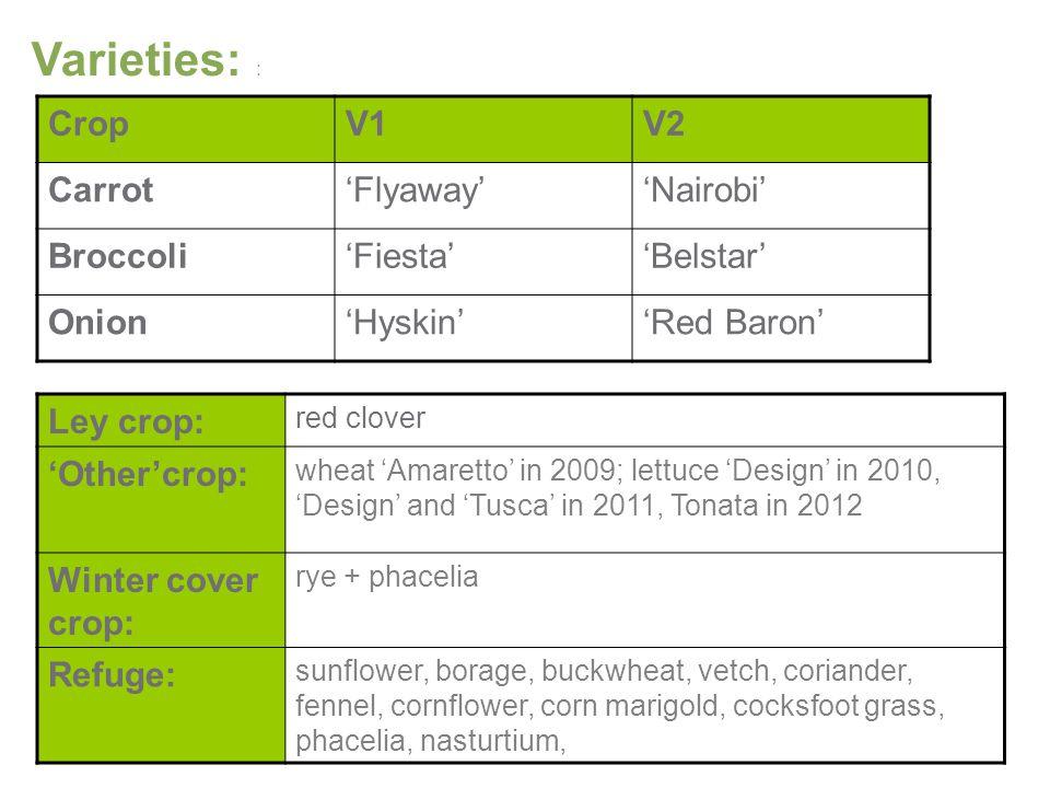 Varieties: : CropV1V2 Carrot'Flyaway''Nairobi' Broccoli'Fiesta''Belstar' Onion'Hyskin''Red Baron' Ley crop: red clover 'Other'crop: wheat 'Amaretto' in 2009; lettuce 'Design' in 2010, 'Design' and 'Tusca' in 2011, Tonata in 2012 Winter cover crop: rye + phacelia Refuge: sunflower, borage, buckwheat, vetch, coriander, fennel, cornflower, corn marigold, cocksfoot grass, phacelia, nasturtium,