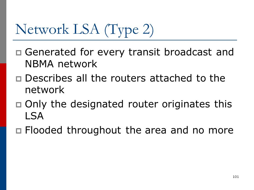 Network LSA (Type 2)  Generated for every transit broadcast and NBMA network  Describes all the routers attached to the network  Only the designate