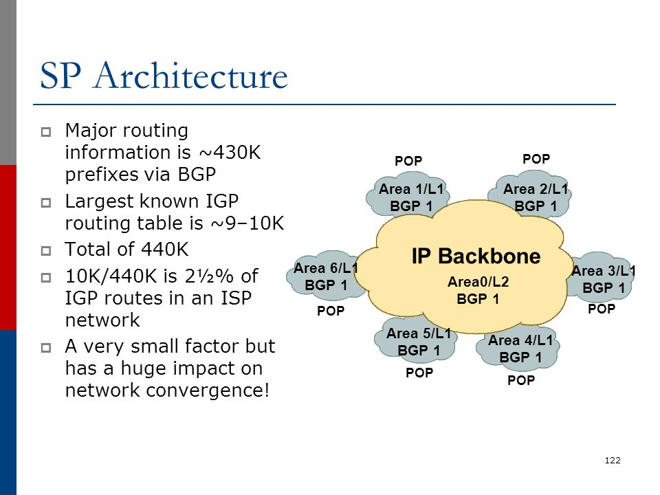 SP Architecture  Major routing information is ~430K prefixes via BGP  Largest known IGP routing table is ~9–10K  Total of 440K  10K/440K is 2½% of