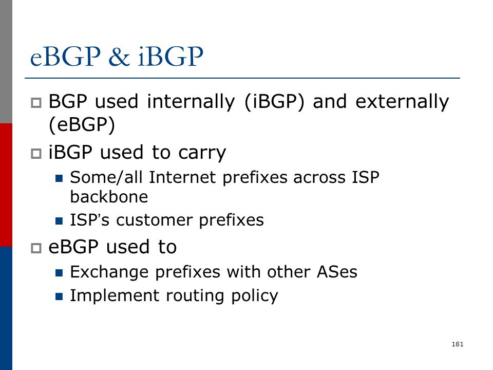 eBGP & iBGP  BGP used internally (iBGP) and externally (eBGP)  iBGP used to carry Some/all Internet prefixes across ISP backbone ISP's customer pref