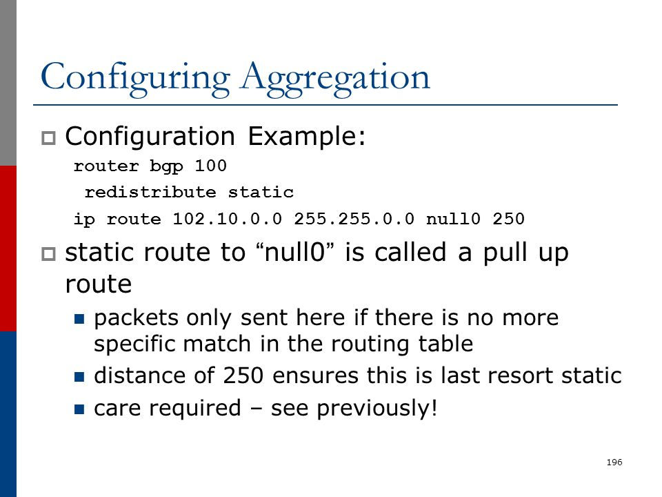 "196 Configuring Aggregation  Configuration Example: router bgp 100 redistribute static ip route 102.10.0.0 255.255.0.0 null0 250  static route to ""n"