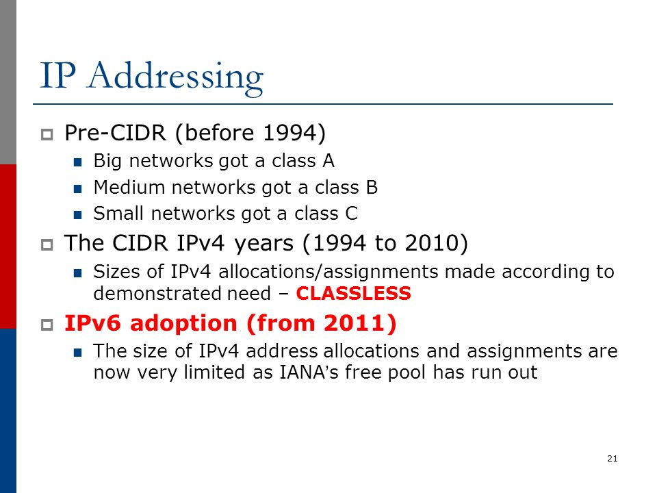 IP Addressing  Pre-CIDR (before 1994) Big networks got a class A Medium networks got a class B Small networks got a class C  The CIDR IPv4 years (19