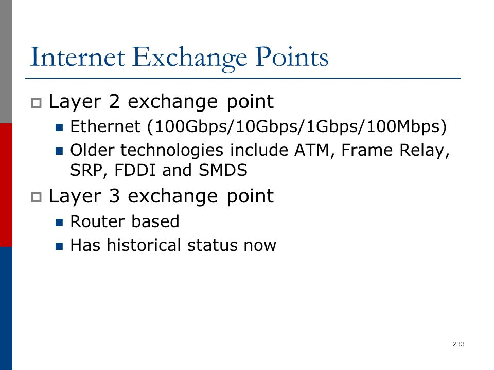 Internet Exchange Points  Layer 2 exchange point Ethernet (100Gbps/10Gbps/1Gbps/100Mbps) Older technologies include ATM, Frame Relay, SRP, FDDI and S