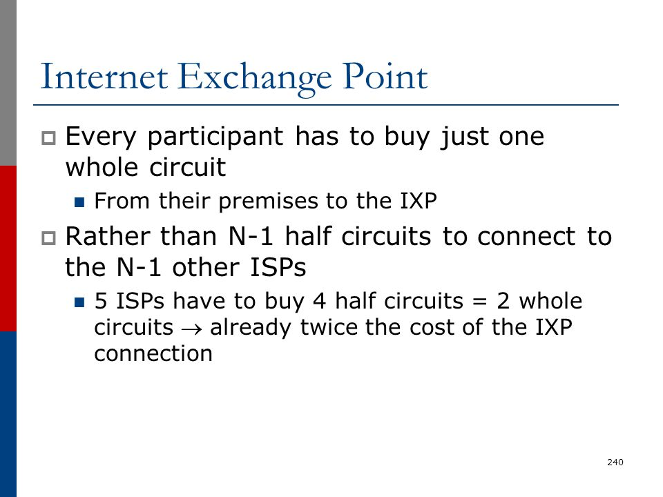 Internet Exchange Point  Every participant has to buy just one whole circuit From their premises to the IXP  Rather than N-1 half circuits to connec