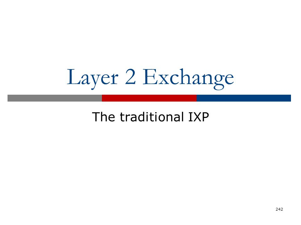 Layer 2 Exchange The traditional IXP 242