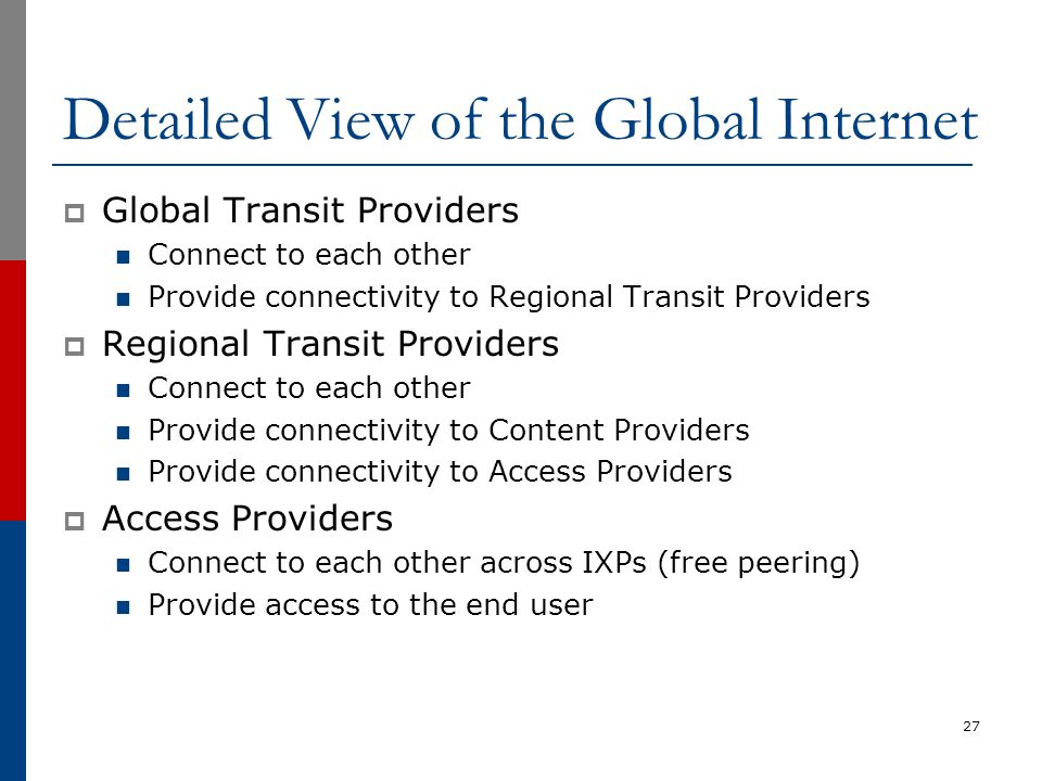 Detailed View of the Global Internet  Global Transit Providers Connect to each other Provide connectivity to Regional Transit Providers  Regional Tr