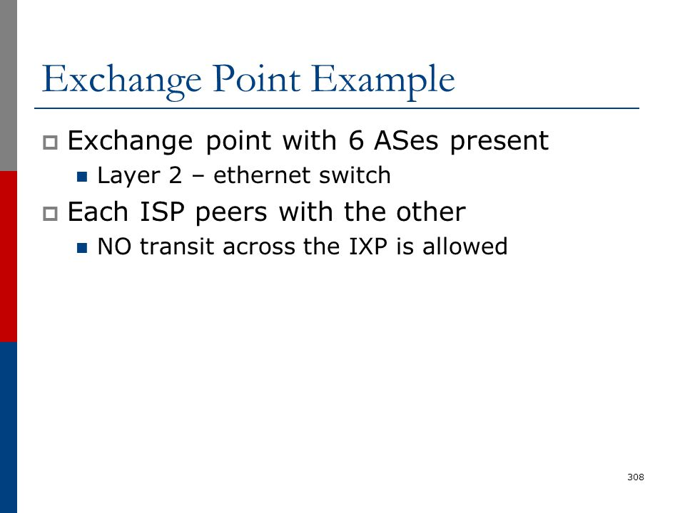 Exchange Point Example  Exchange point with 6 ASes present Layer 2 – ethernet switch  Each ISP peers with the other NO transit across the IXP is all