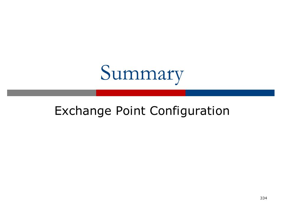 Summary Exchange Point Configuration 334